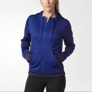 Adidas blue zip up hooded jacket fleece lined M